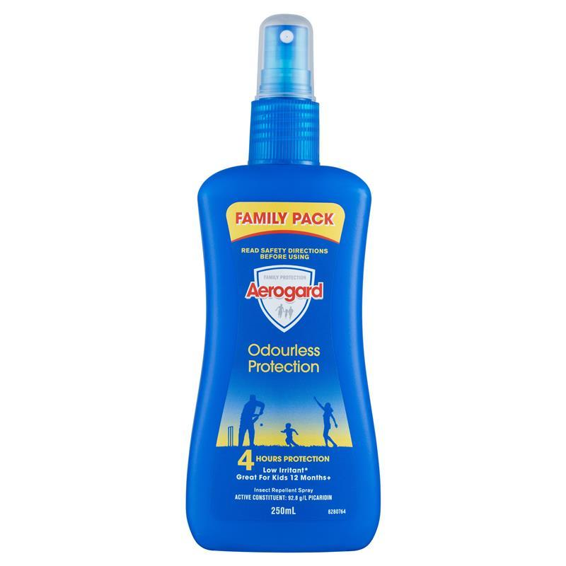Aerogard Odourless Insect Repellent 250ml Pump - Repels against mosquitoes, flies, sandflies and other annoying and biting insects for up to 4 hours.  - Odourless   - Low Irritant on skin  - Non-greasy