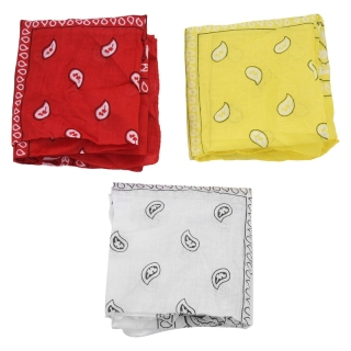 Paisley bandanas set of 3 - Headband cashmere cotton scarf, trendy hair accessory (White red yellow) thumbnail