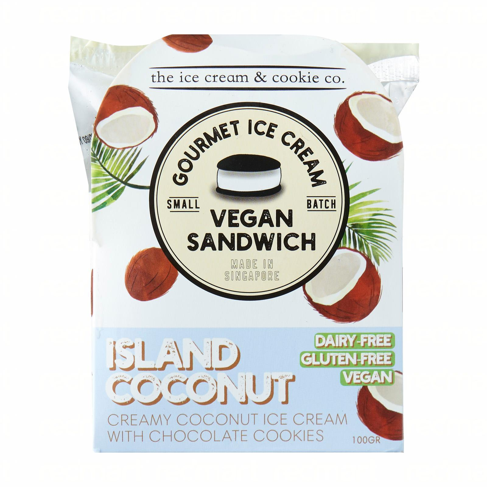 The Ice Cream & Cookie Co. Vegan Coconut Ice Cream Sandwich (Vegan Dairy-Free and Gluten-Free)