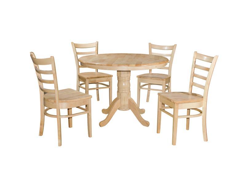 FULL SOLID WOOD COCO 1 + 4 DINING SET / DINNER SET / MEJA KERUSI MAKAN / BREAKFAST SET / LUNCH SET RD1050MM X H775MM