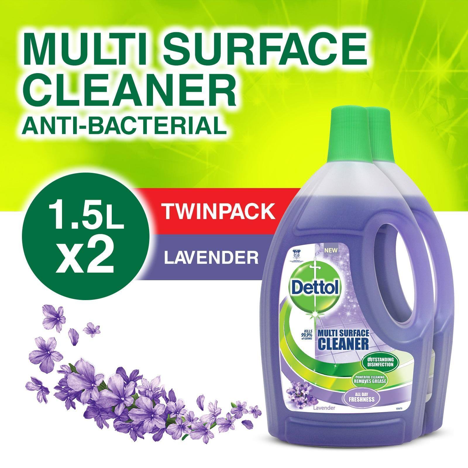 Dettol 4-in-1 Disinfectant Multi Surface Cleaner Lavender 2x 1.5L