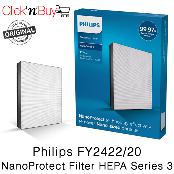 Philips FY2422/20 NanoProtect Filter HEPA Series 3. Filters 99.97% 0.3μm Particles. As long as 24 months Lifetime. Local SG Stock. Singapore