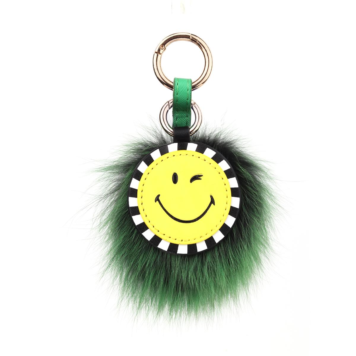 Smileyworld Shoppe New Products Women s Bag Cute Smiley Fuzzy Ball Pendant  Accessories Keychain Gift b2dcde240