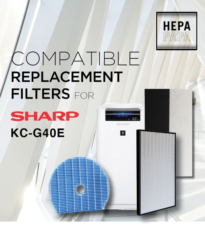Sharp KC-G40E & KC-G50E - FZ-D40HFE / FZ-G40DFE / FZ-G60MFE Compatible Replacement Filters [Free Alcohol Swab] [SG Seller] [7 Days Warranty] [HEPAPAPA] Singapore