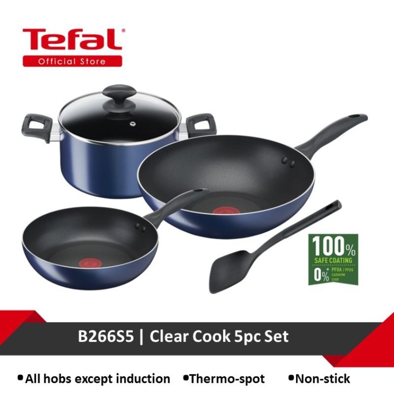 Tefal Clear Cook 5pc Set (Frypan 20 + Wok Pan 28 + Stewpot 22 + lid + Spatula) B266S5 Singapore