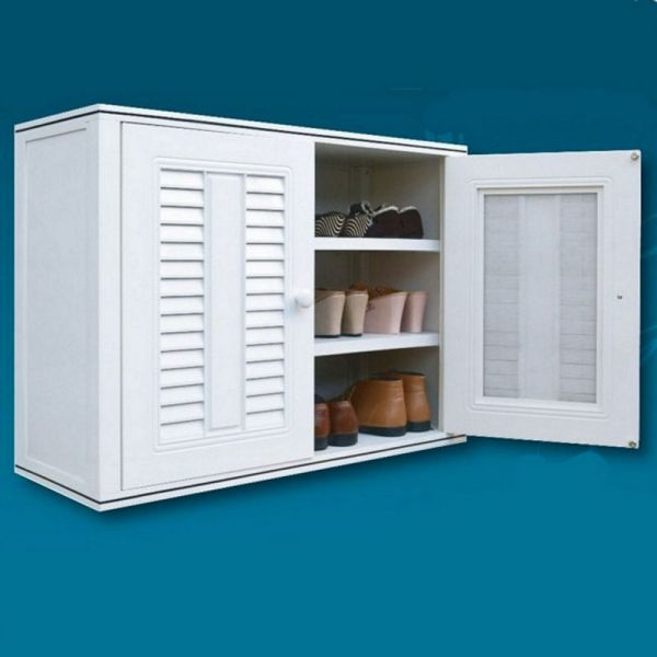 QUEEN SHOE Waterproof High Quality ABS Thermoplastic Shoes cabinet with Nano Coating - (White) (W88.5 x D34 x H65 cm)