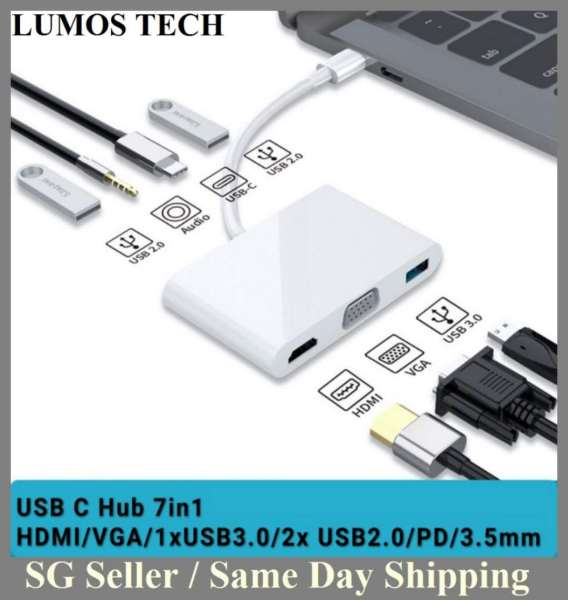 Type C 5in1 Hub Adapter for MacBook Pro/Air with Thunderbolt 3,4K hdmi-compatible VGA,USB 3.0,Type-C Port,3.5mm audio Jack Compatible with MacBook Pro MacBook Air 2017/2018/2019