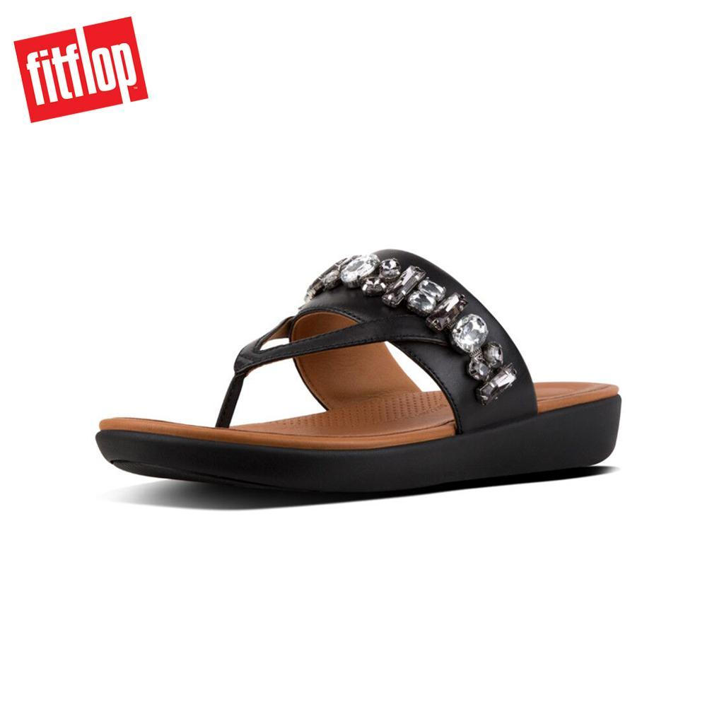 b91aee402 Fitflop™ Delta Bejewelled Black Women Flat Sandals