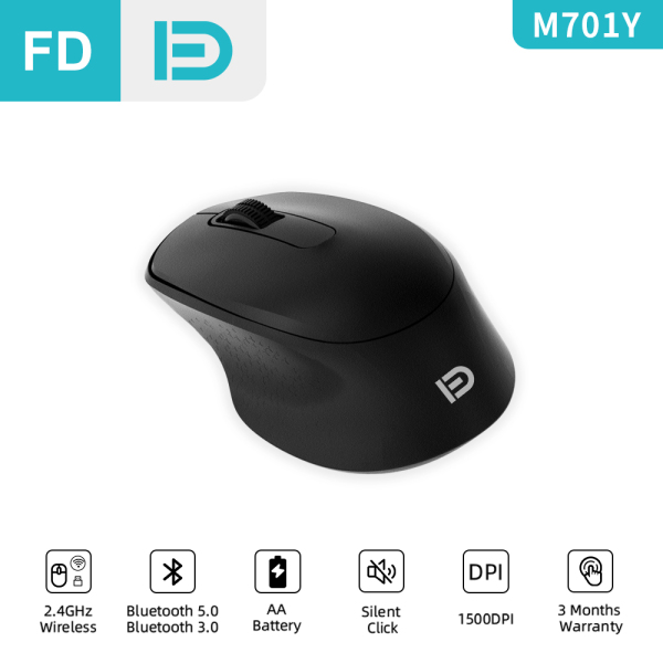 [NEW] FD M701y Wireless Mouse, 2.4G/Bluetooth 5.0/3.0 Silent Mouse, Dual Mode Silent Click Basic Mouse for Computer Laptop iPad Notebook