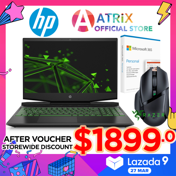【Same Day Delivery】HP Pavilion Gaming Laptop 15 dk-RTX2060 | 15.6inch 144Hz FHD IPS |  i7-10750H | 16GB RAM | 1TB PCIe SSD+32GB 3DXpoint | RTX2060 | Win10 home | 2Y HP Onsite Warranty