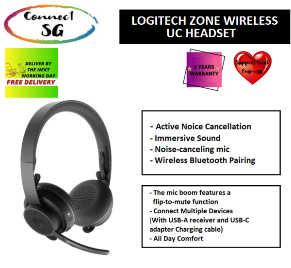 Logitech Zone Wireless UC Headset   981-000915   Active Noise Cancelling   Bluetooth Headset   Logitech Zone wireless   UC Headset   Flexible Microphone   Foldable   Logitech Zone Wireless UC Headset   5012959 Singapore