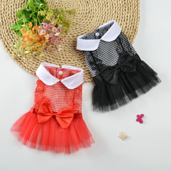 1 Chiếc Váy Cho Thú Cưng, Cổ Bẻ Trang Trí Thắt Nơ Trang Phục Váy Cho Thú Cưng Hai Chân Cho Chó Con Mùa Hè