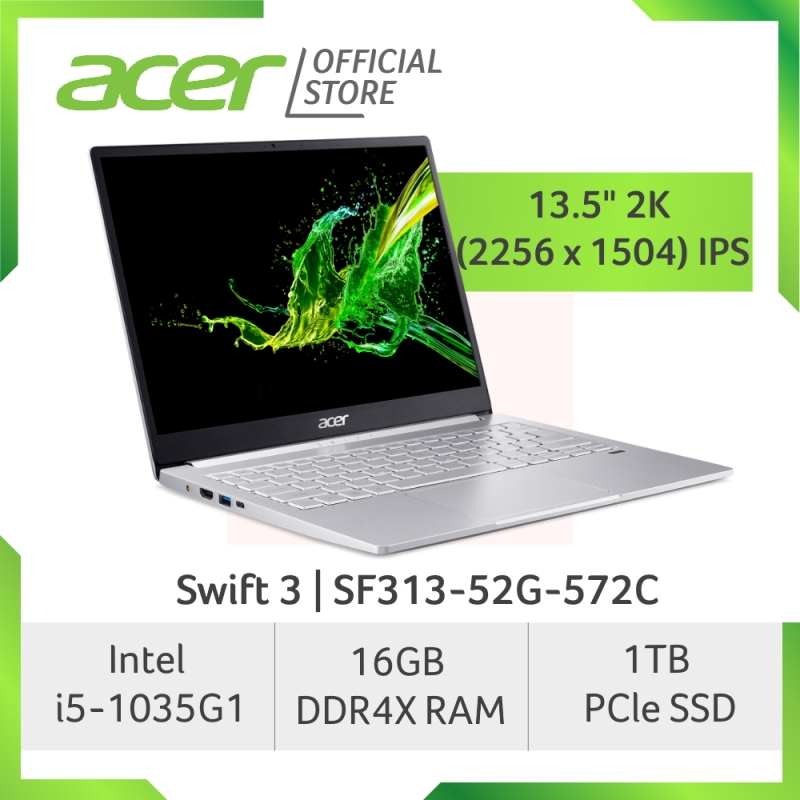 Acer NEW Swift 3 SF313-52G-572C 13.5 inch 2K (2256 x 1504) IPS Screen with i5-1035G1 Processor and 16GB RAM Laptop