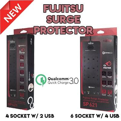 FUJITSU (SP621 6 way / SP421 4 way)  Surge Protector Child Safety Shutter with Quick Charge 3.0 with Safety marks protection surcharge lighting Highest quality