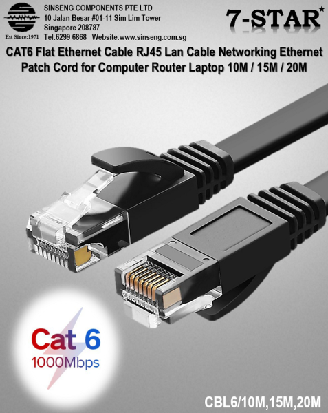 CAT6 Flat Ethernet Cable RJ45 Lan Cable Networking Ethernet Patch Cord for Computer Router Laptop 10M / 15M / 20M