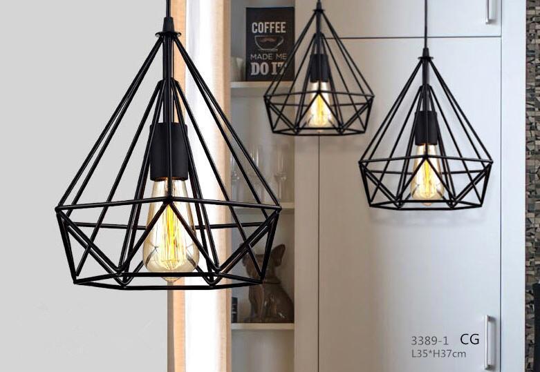 YANYI 1PC Ironwork Hexagonal Diamond Shape 250mm Black E27 Loft Ceiling Lamp