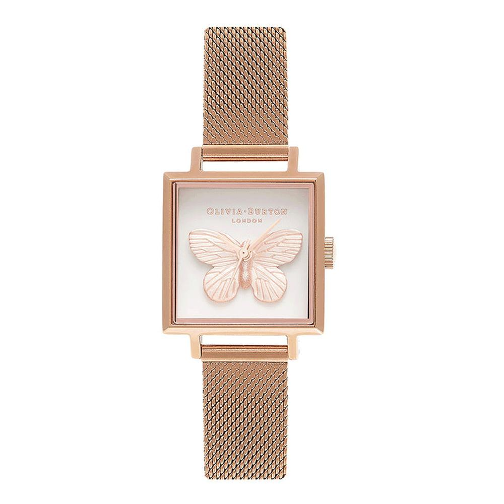 Olivia Burton 3d Butterfly White Dial 22m Quartz Womens Rose Gold Stainless Steel Strap Watch Ob16mb18 By Watch Centre.