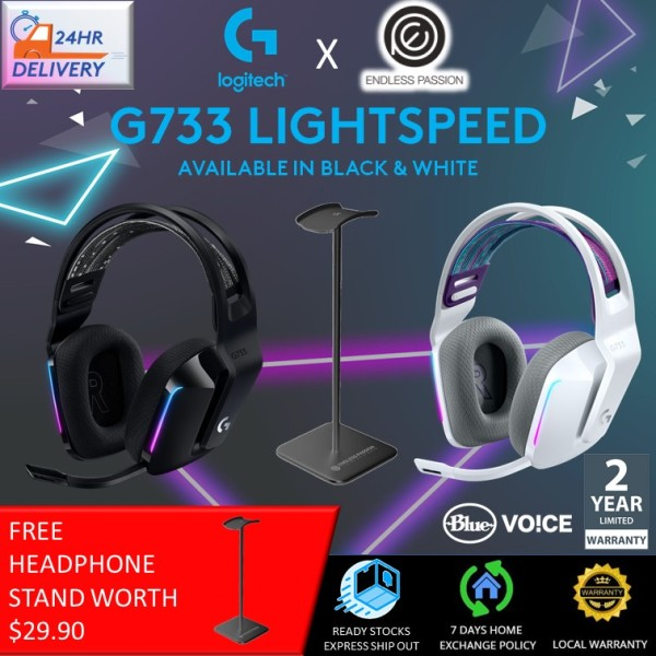 Logitech G733 Lightspeed Wireless Gaming Headset with Suspension Headband, LIGHTSYNC RGB, Blue VO!CE mic Technology and PRO-G Audio Drivers - Black/White [FREE Headphone Stand + 24 hours delivery]