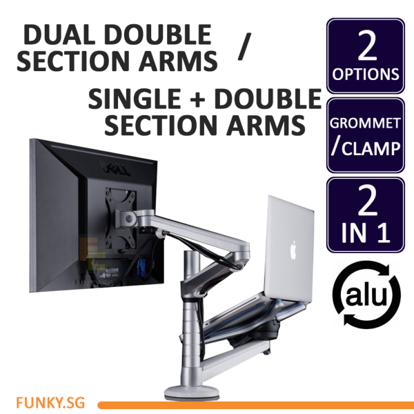 Dual Arm Computer Mount Laptop and Monitor Stand Bracket OA-7/7X