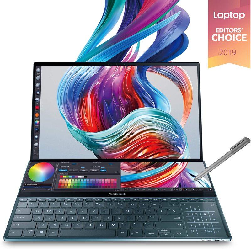 "ASUS Zenbook UX581GV-H2001T i9-9980HK 15.6"" 4K UHD NanoEdge Bezel Touch, 32GB RAM, 1TB PCIe SSD, GeForce RTX 2060, Innovative Screenpad Plus,Windows 10 Pro Celestial Blu ( UX581GV-H2001T )"