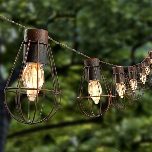 Solar Powered 10 LED Lantern String Lights Metal Cage Bulb Shape Bronze