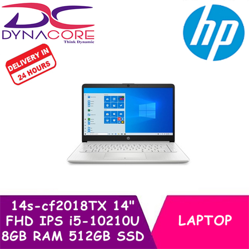 ** Delivery in 24 Hours - DYNACORE - HP Laptop / Notebook 14s-cf2018TX 14 Inch FHD IPS | i5-10210U | 8GB DDR4 RAM | 512GB PCIe SSD | AMD R530 2GB | Win10 | 1Year HP Onsite Warranty