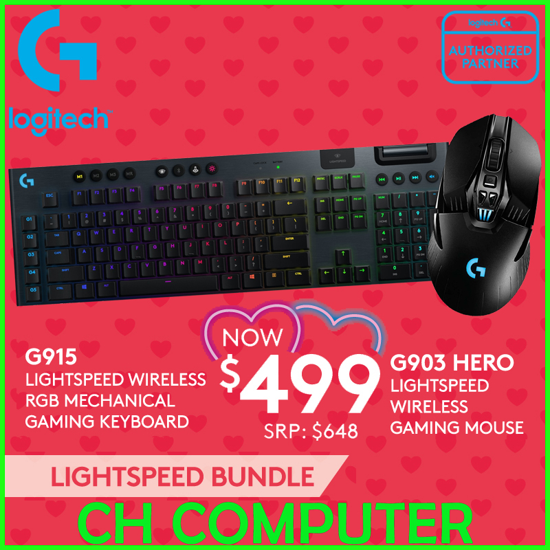 Logitech G915 Wireless Mechanical Gaming Keyboard & Logitech G903 HERO LIGHTSPEED Wireless Gaming Mouse Bundle promotion Singapore