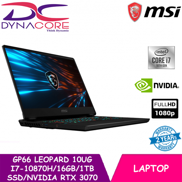 【DELIVERY IN 24 HOURS】DYNACORE - MSI GP66 Leopard 10UG (i7-10870H | 16GB | 1TB SSD | NVIDIA RTX 3070 8GB GDDR6 | 15.6FHD 240Hz | WIN 10) 2 YEARS WARRANTY