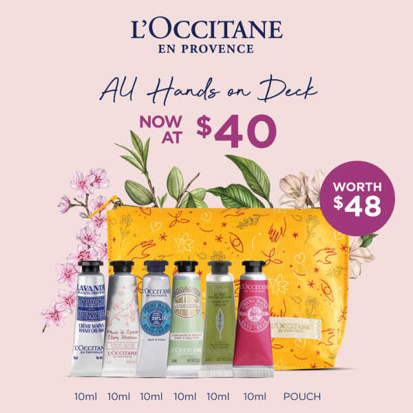 Buy [MOTHER'S DAY SET] L'OCCITANE – ALL HANDS ON DECK (worth $48) • includes Cherry Blossom Hand Cream 10ml+Almond Hand Cream 10ml+Shea Butter Hand Cream 10ml+Shea Rose Hand Cream 10ml+Verbena Cooling Hand Cream Gel 10ml+Lavender Hand Cream 10ml+Pouch Singapore