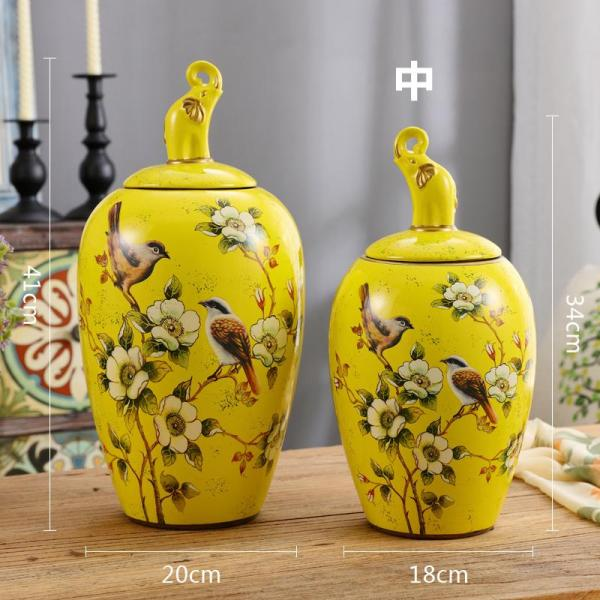 European Style American Ceramic Storage Jar General Can Decorations And Ornaments TV Cabinets Wine Cabinet Living Room Flower Arrangement Vase Asian Creative Luxury Art Works