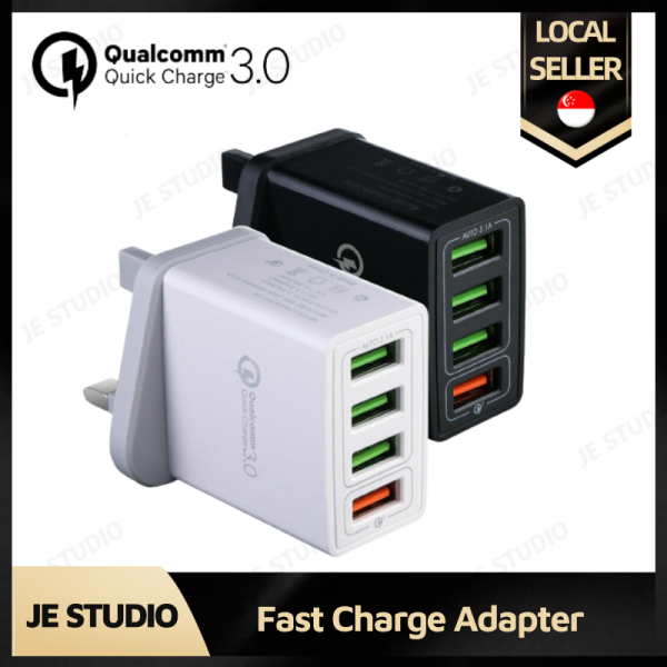 【SG - Ready Stock】 🔌 Quick Charge 3.0 Qualcomm 4 USB Port Charger UK Plug Fast Charging Power Adapter Fast Charge Adapter