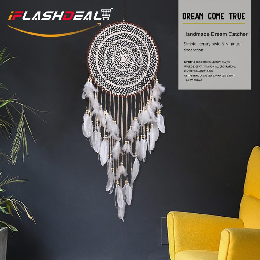 iFlashDeal Handmade Dream Catcher With Feathers Car Wall Hanging Decoration Dreamcatcher Contracted Hand Knits to Catch Dream Net Indian Newest Creative Gift