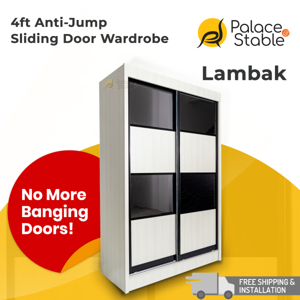 4ft Anti Jump Sliding Door Wardrobe, 4 Designs in 3 Colors