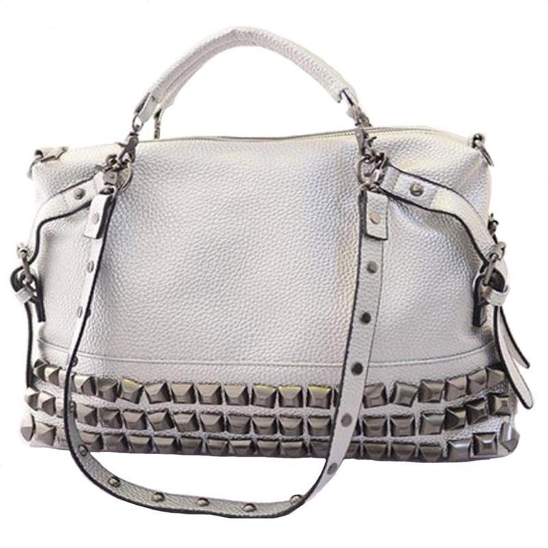 Women Modern Punk Pu Leather Cross Body Rivet Top-Handle Shoulder Bags Hobo Tote Satchel Handbags For Lady