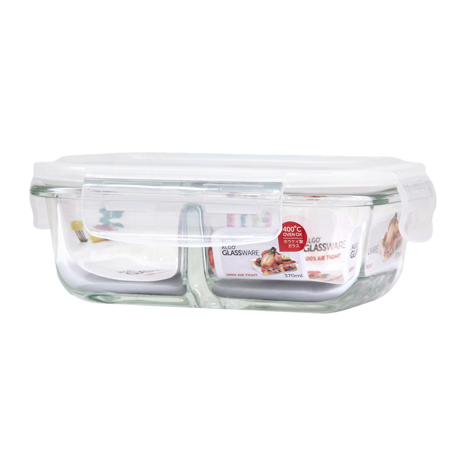 Algo Glass Container with Divider 330ML Rectangular