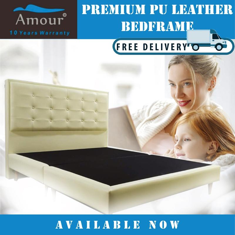 AMOUR BRAND PREMIUM PU LEATHER BED FRAME/QUEEN SIZE/KING SIZE AVAILABLE