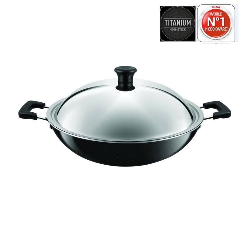 Tefal Cookware Asian Chinese Wok 40cm with Lid C52897 Singapore