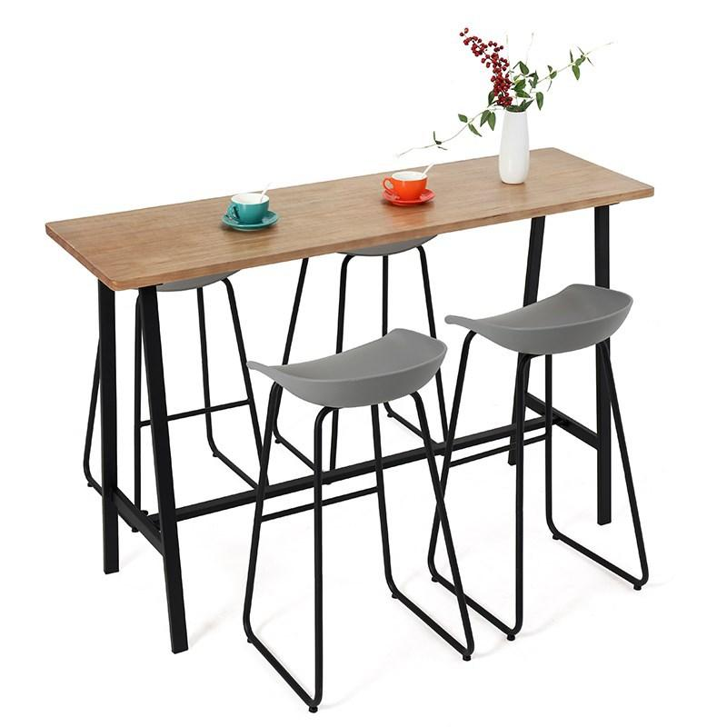 Simple Household Strip Solid Wood Bar Counter Tables And Chairs Bar Small Apartment High Base Tables And Chairs Cafe Leisure Tables And Chairs to Discuss