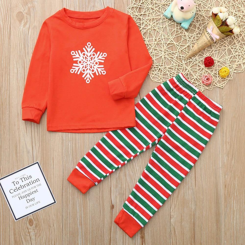 0baa44d3486bdb BabyTS_Best Sale Christmas Children Cartoon Snowflake Top+Stripe Pants  Family Clothes Pajamas1 PCtop + 1