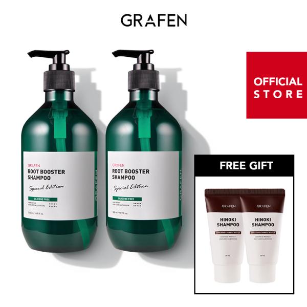 Buy [GRAFEN] [Bundle of 2] Root booster Shampoo 500mlx2 + [Free Gift] Miniature Hinoki Shampoo 30mlx2ea Singapore
