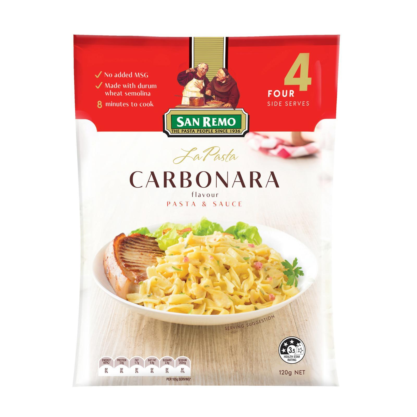 San Remo La Pasta Carbonara Flavour Pasta and Sauce