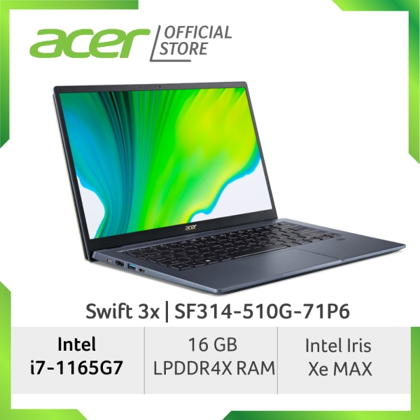 Acer Swift 3x SF314-510G-799X/SF314-510G-71P6 laptop with LATEST 11th Gen Intel Core i7-1165G7 processor and Intel Iris Xe MAX graphics