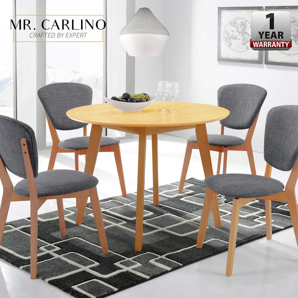 [100cm] VIERA Round Solid Wood Dining Table With 4 Dining Chair Set