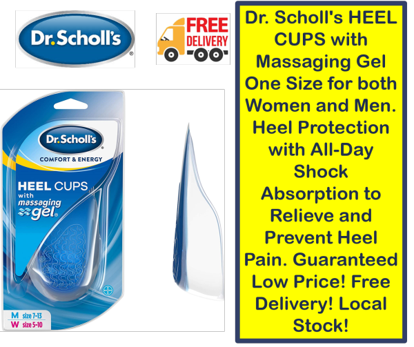 Buy Dr. Scholls HEEL CUPS with Massaging Gel One Size for both Women and Men. Heel Protection with All-Day Shock Absorption to Relieve and Prevent Heel Pain. Guaranteed Low Price! Free Delivery! Local Stock! Singapore