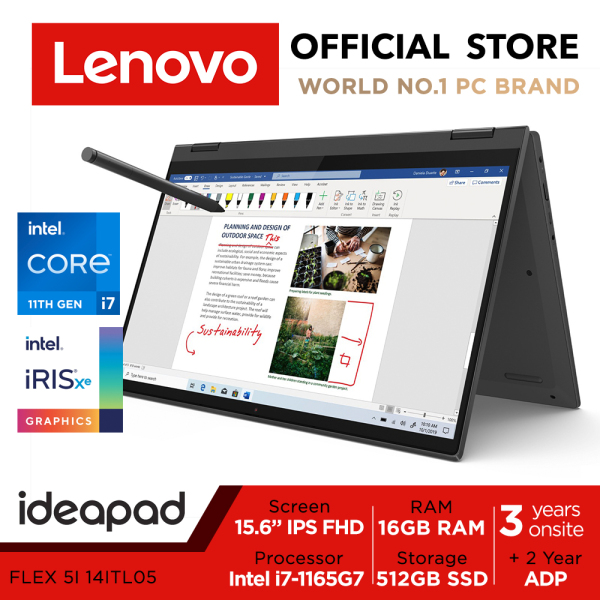 LENOVO Ideapad Flex 5i 14ITL05 82HS002MSB | 14inch FHD IPS Touch Screen | i7-1165G7 | 16GB RAM | 512GB SSD | Iris Xe Graphics | Lenovo Digital Pen | 3 Years Onsite warranty+2 Years ADP