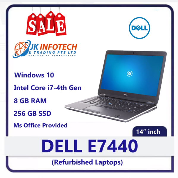 Dell Latitude E7440 (Refurbished) | intel core i7 -4th Gen | 8GB RAM | 256 GB SSD | 14 inch Display Screen | Windows 10 | Ms office