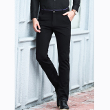 Promo Elastic Straight Men Blue Suit Pants Work Office Formal Black Pants Casual Mens Business Trousers