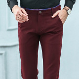 Compare Elastic Straight Men Blue Suit Pants Work Office Formal Black Pants Casual Mens Business Trousers
