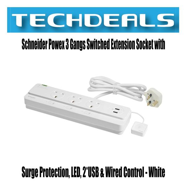 Schneider Powex 3 Gangs Switched Extension Socket with Surge Protection, LED, 2*USB & Wired Control - White