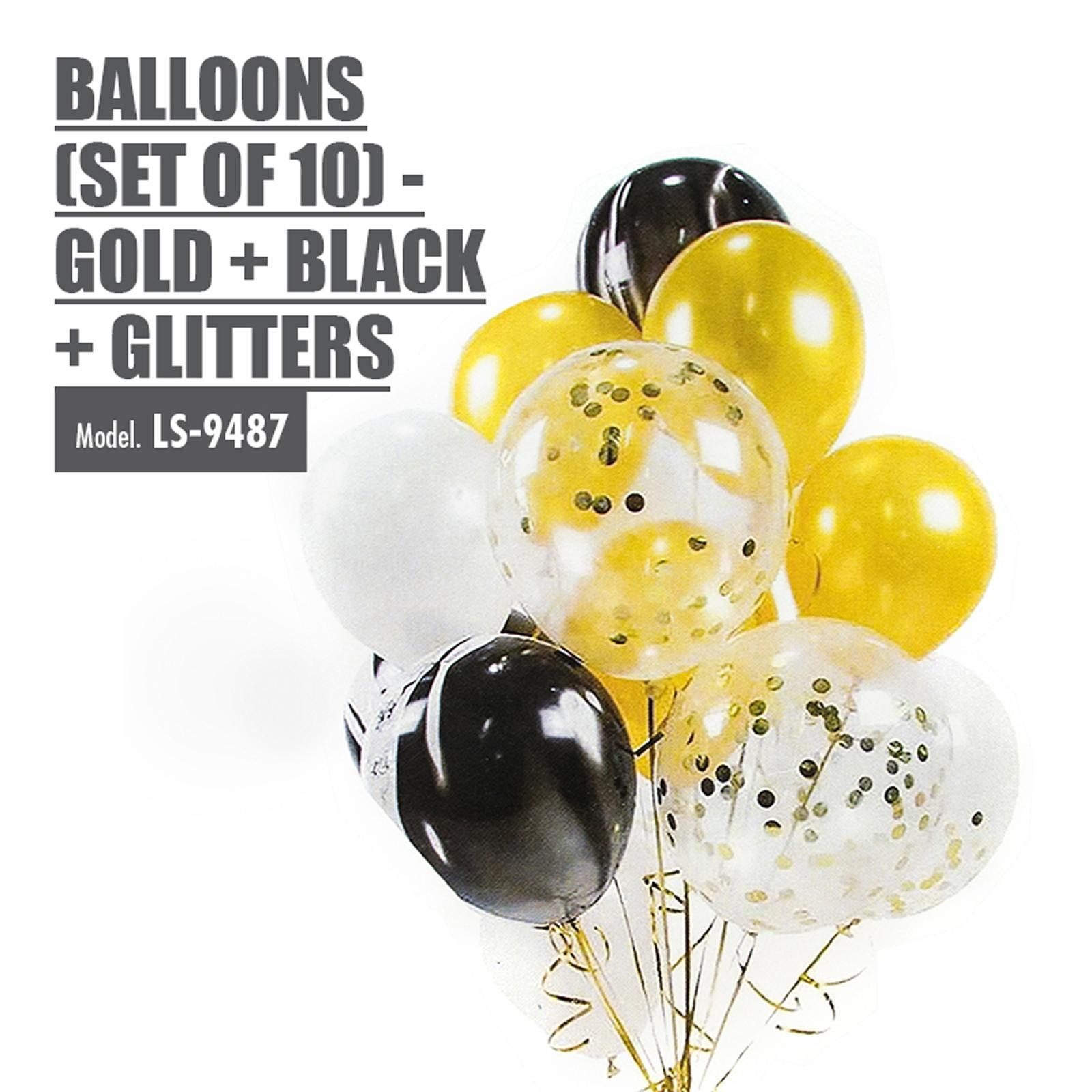HOUZE Balloons (Set Of 10) - Gold + Black + Glitters